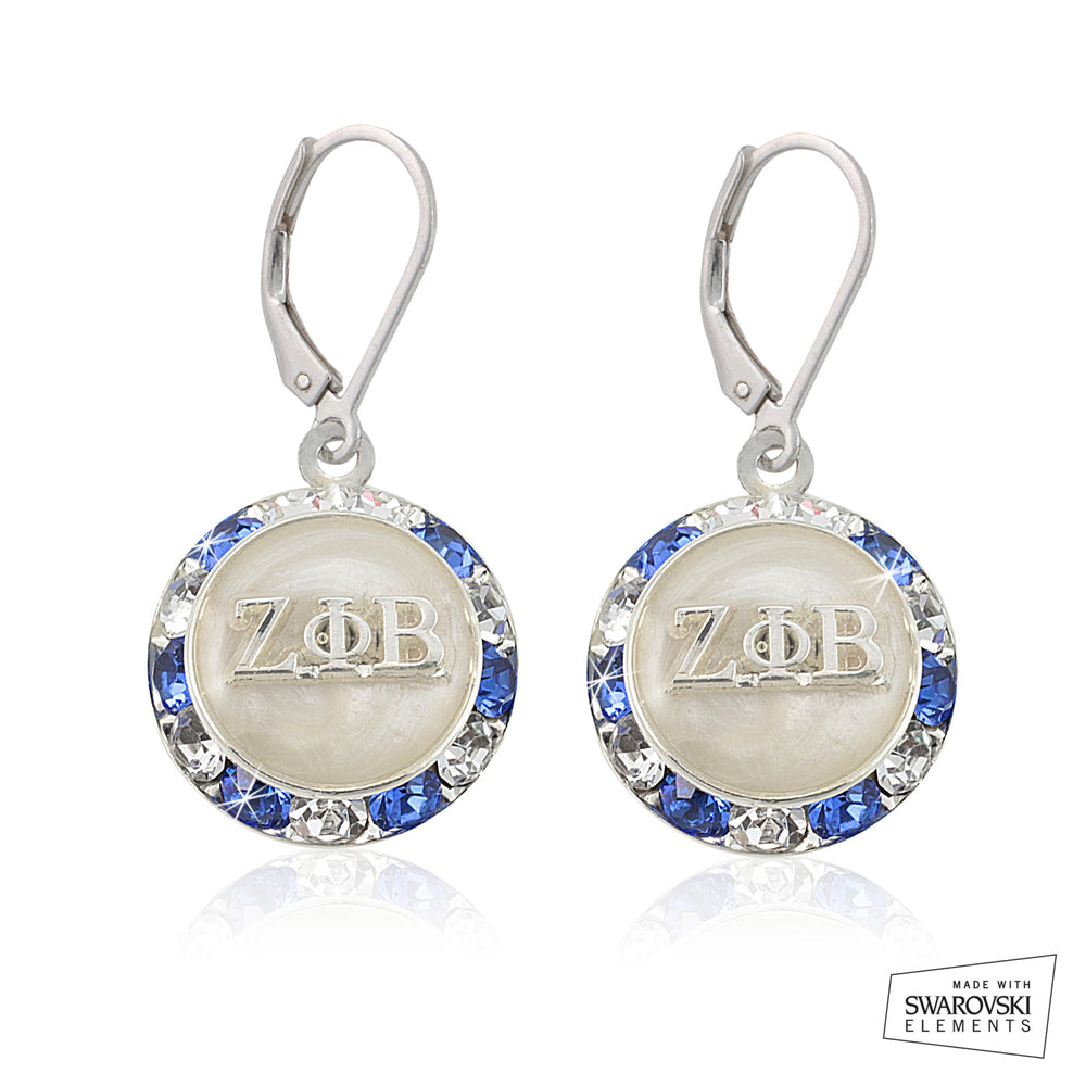 Zeta Phi Beta Swarovski® Lustrous White Earrings