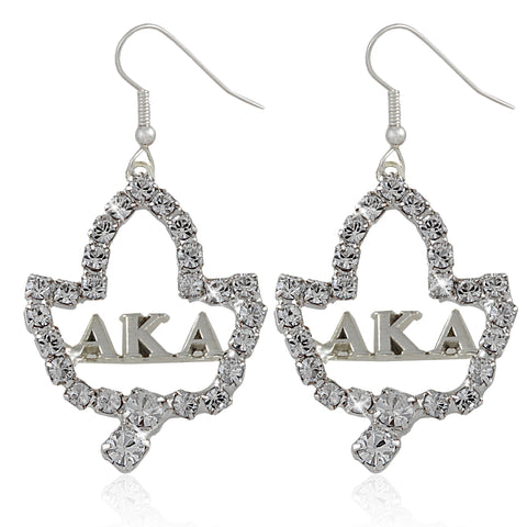 AKA Swarovski® Ivy Leaf Silver Lettered Earrings