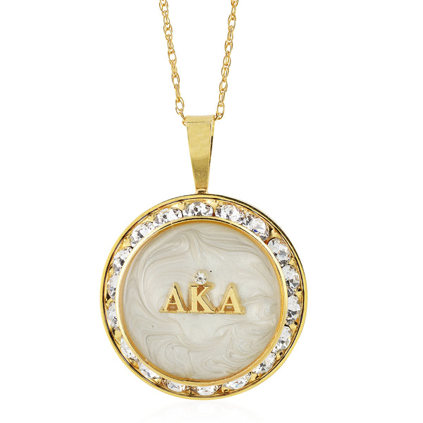 "Alpha Kappa Alpha Swarovski® Ivy Elegance ""Forever"" Necklace with Pearlescent Swirls w/18"" Chain"