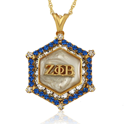 Zeta Marbella Gold Crystal White Necklace