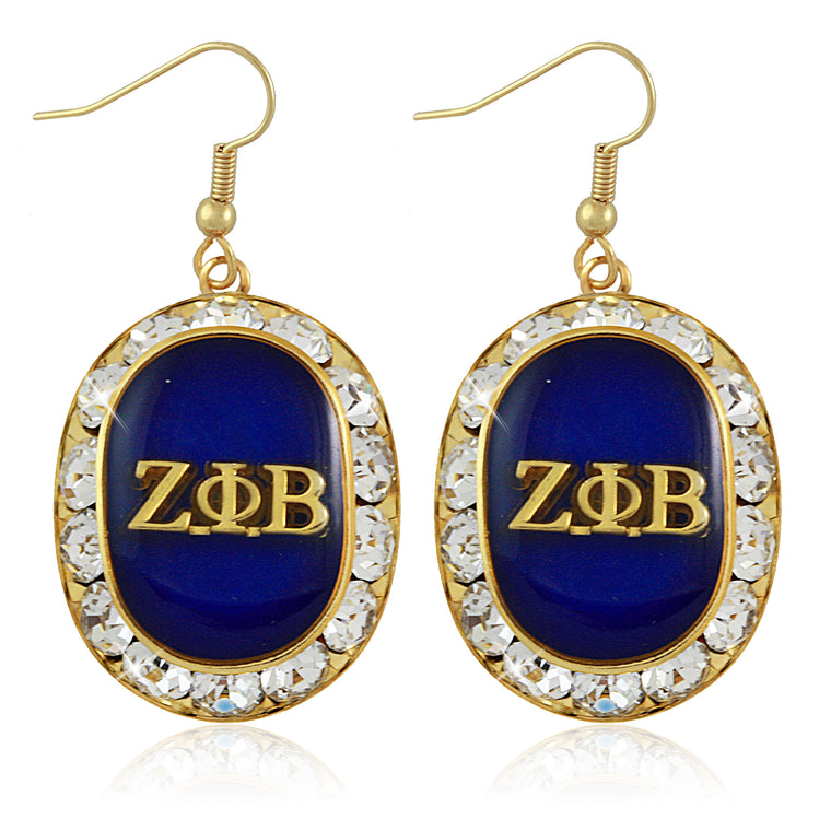 Zeta Swarovski® Oval Gold Crystal Earrings