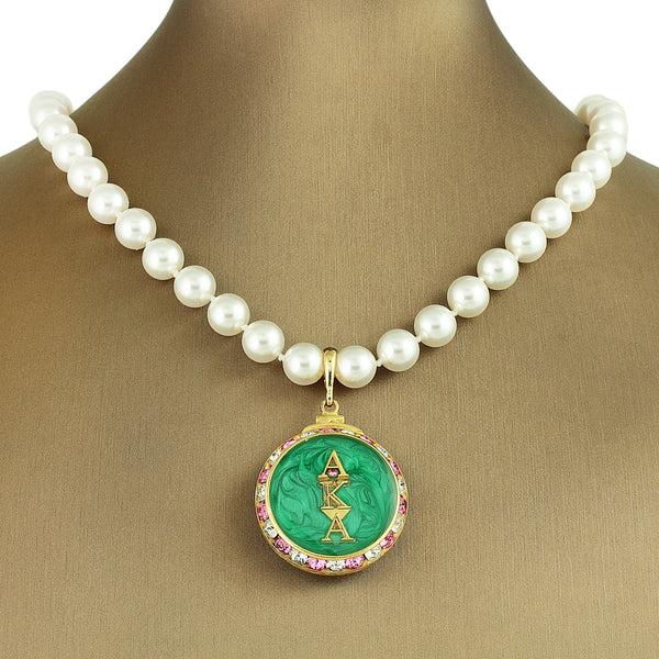 "Alpha Kappa Alpha Swarovski® ""Superb"" Necklace with Pearls *Designer Choice"""