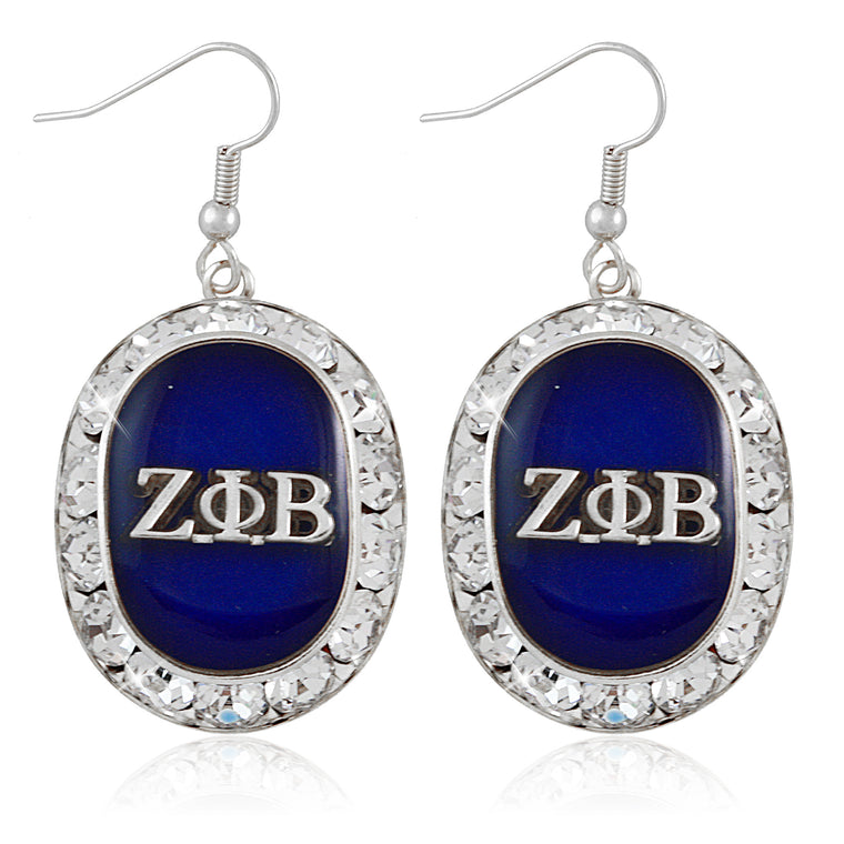 Zeta Oval Silver Crystal Earrings