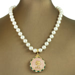 "Alpha Kappa Alpha Swarovski® ""Joyful"" Necklace with Pearls *Designer Choice"""