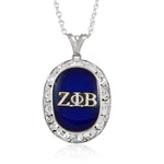 Zeta Oval Silver Crystal Necklace