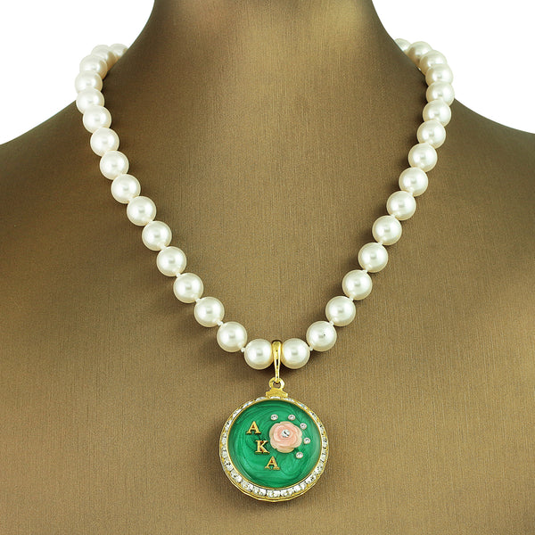 "Alpha Kappa Alpha Swarovski® ""Starry Night"" Necklace with Pearls *Designer Choice"""