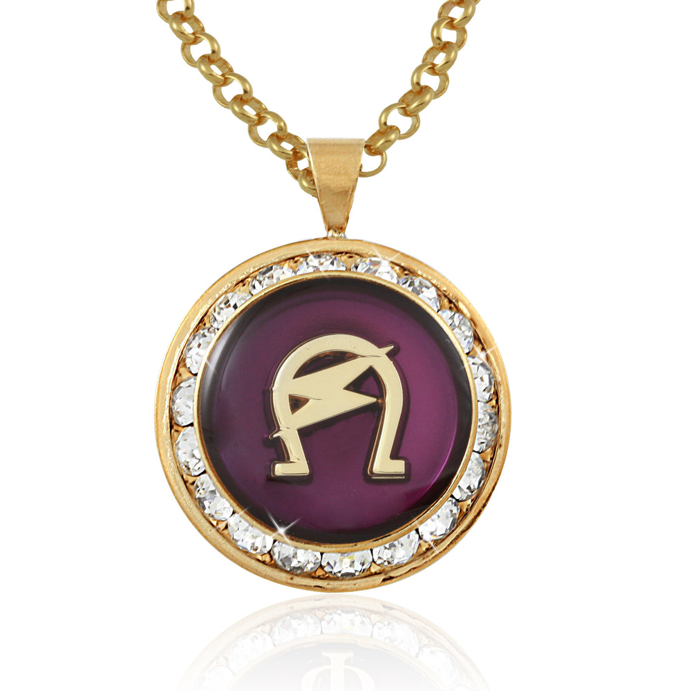 "Omega Psi Phi Swarovski® Crystal Gold ""The Lightning"" Medallion"