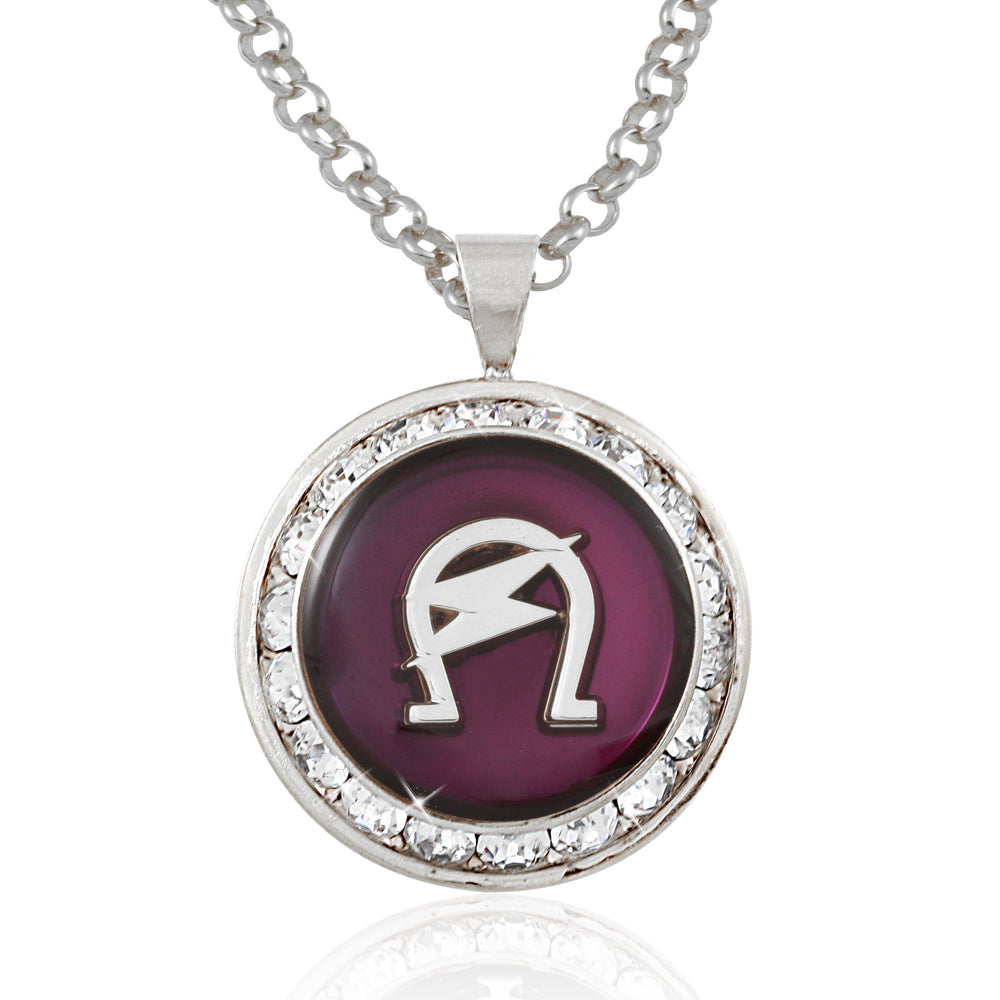 "Omega Psi Phi Swarovski® Crystal Silver ""The Lightning"" Medallion"