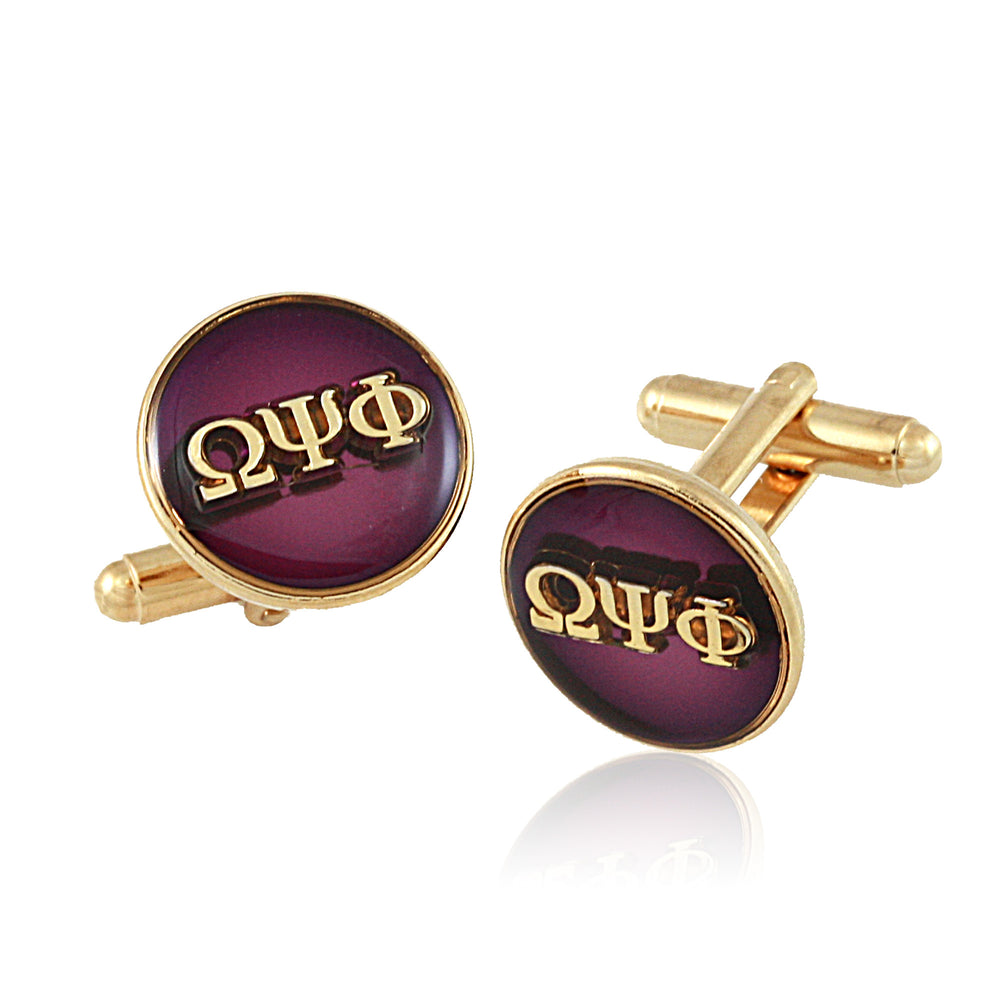 "Omega Psi Phi Swarovski® Gold ""Executive"" Cufflinks"