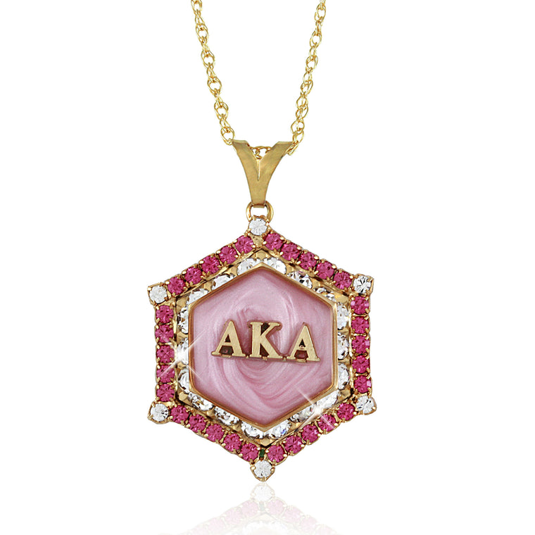AKA Swarovski® Gold 'Pretty in Pink' Marbella Necklace