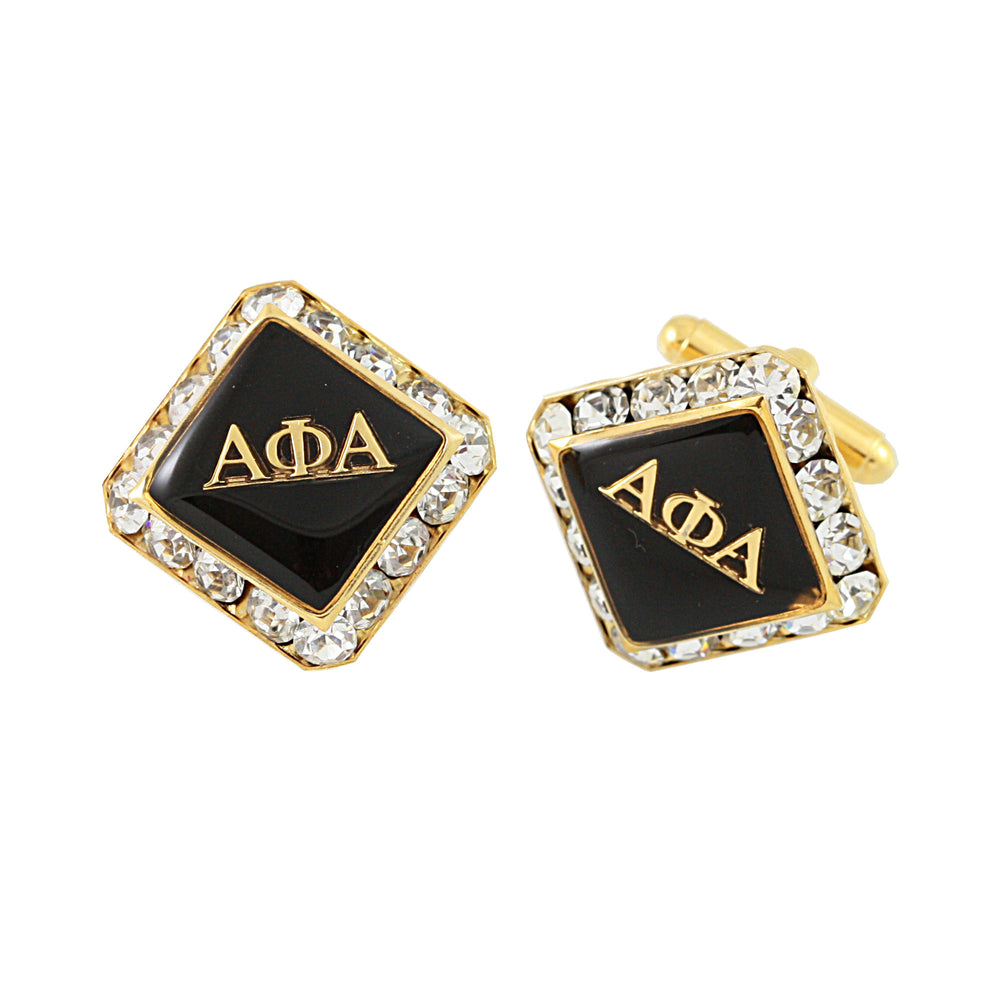 "Alpha Phi Alpha Swarovski® Gold ""The Alpha Man"" Cufflinks"
