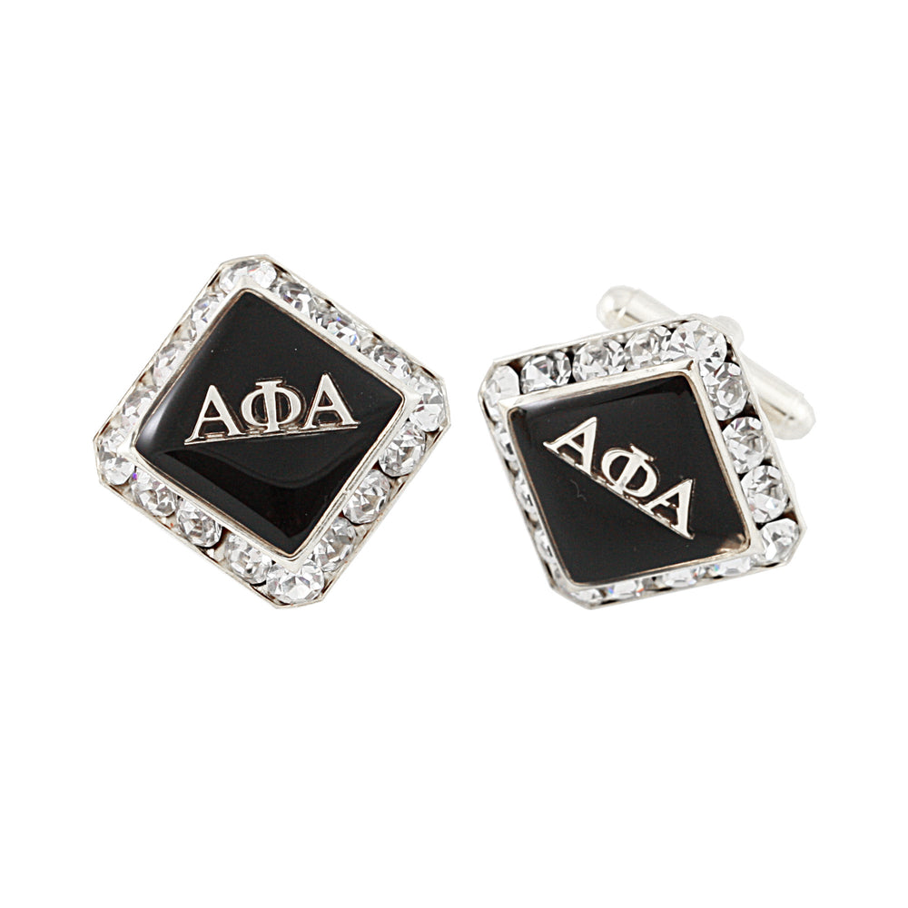 "Alpha Phi Alpha Swarovski® Silver         ""The Alpha Man"" Cufflinks"