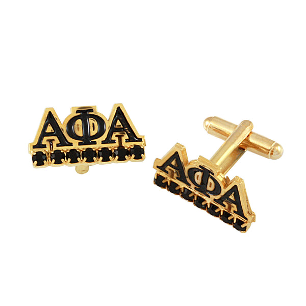 "Alpha Phi Alpha Swarovski® Gold ""Regal"" Cufflinks"