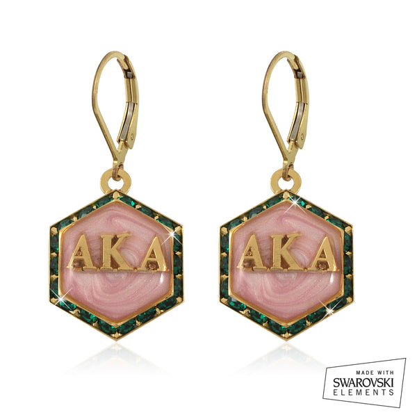 "AKA Swarovski® ""Emerald Lake Pink Pristine"" Gold Starbella Earrings"
