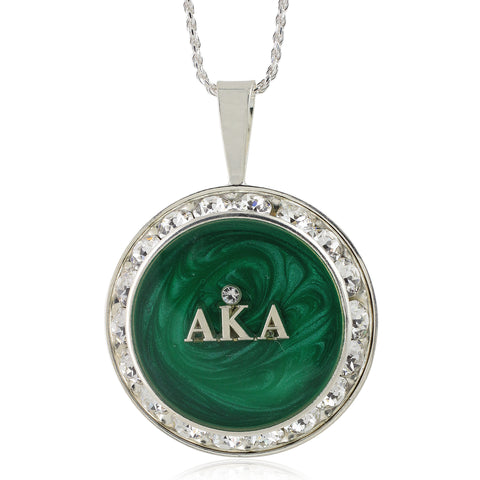 "AKA Swarovski® Ivy Elegance ""Forever"" Necklace with Emerald Swirls w/18"" Chain"