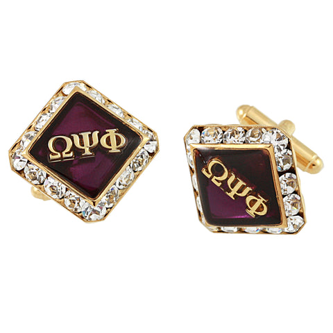 Omega Psi Phi Swarovski® Gold Noble Cufflinks