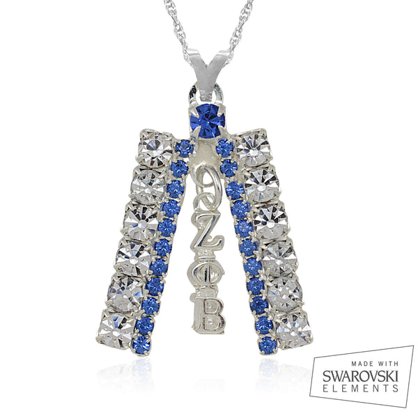 Zeta Crystal Silver Studded Necklace