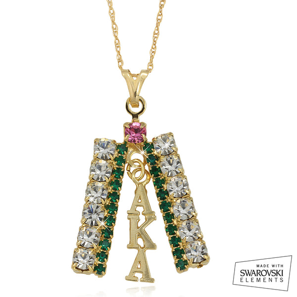 "AKA Swarovski® ""Dazzling"" Crystal Pink and Emerald Necklace"