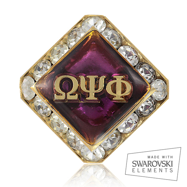 "Omega Psi Phi Swarovski® Crystal Gold ""Distinguished"" Tie Tack/ Lapel Pin"