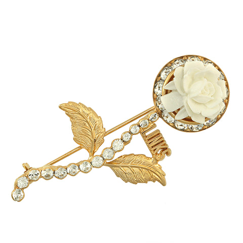 "LINKS Swarovski® ""Flower"" Gold Pin"