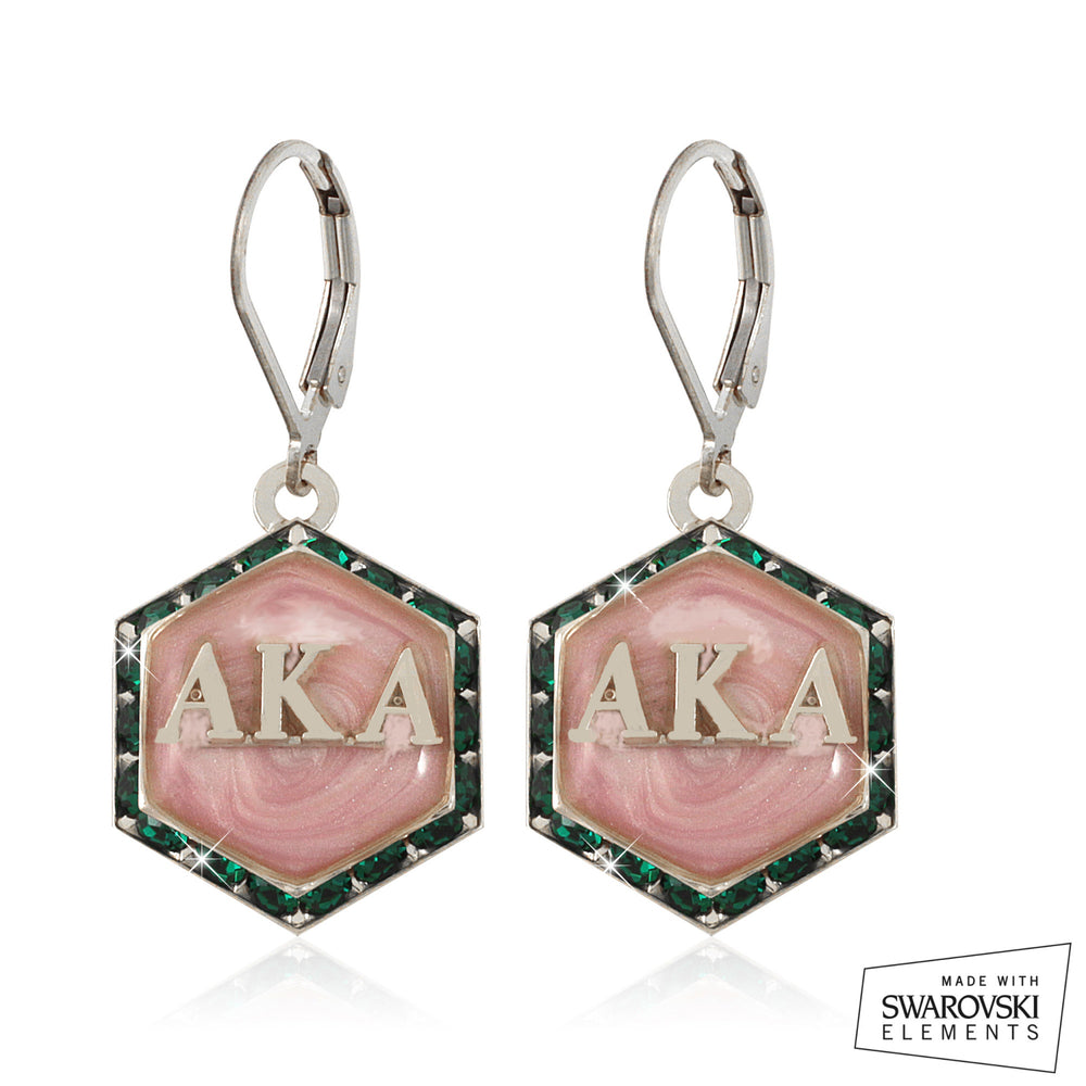 "AKA Swarovski® ""Emerald Lake Pink Pristine"" Silver Starbella Earrings"