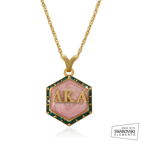 "AKA Swarovski® ""Emerald Lake Pink Pristine"" Gold Starbella Necklace"