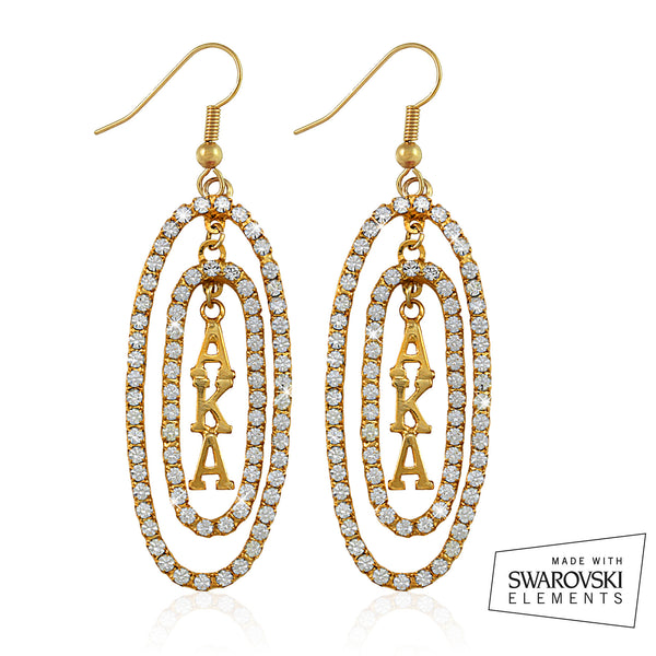 "AKA Swarovski® ""Oval Opulence"" Gold Earrings"