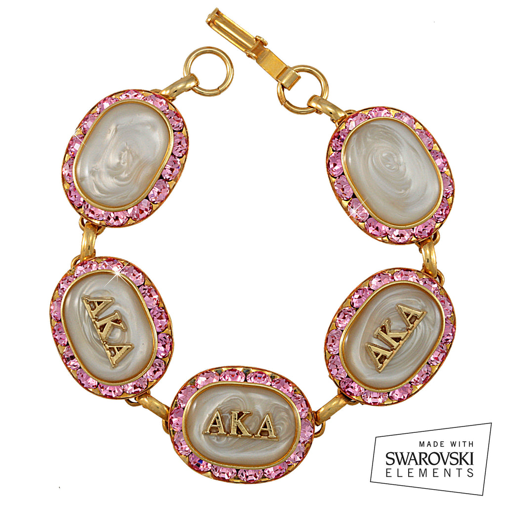 AKA Swarovski® Oval Classic Gold Limited Edition 'Rose and Crystal' Bracelet