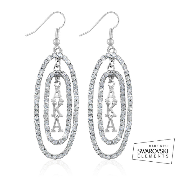 "AKA Swarovski® ""Oval Opulence"" Silver Earrings"