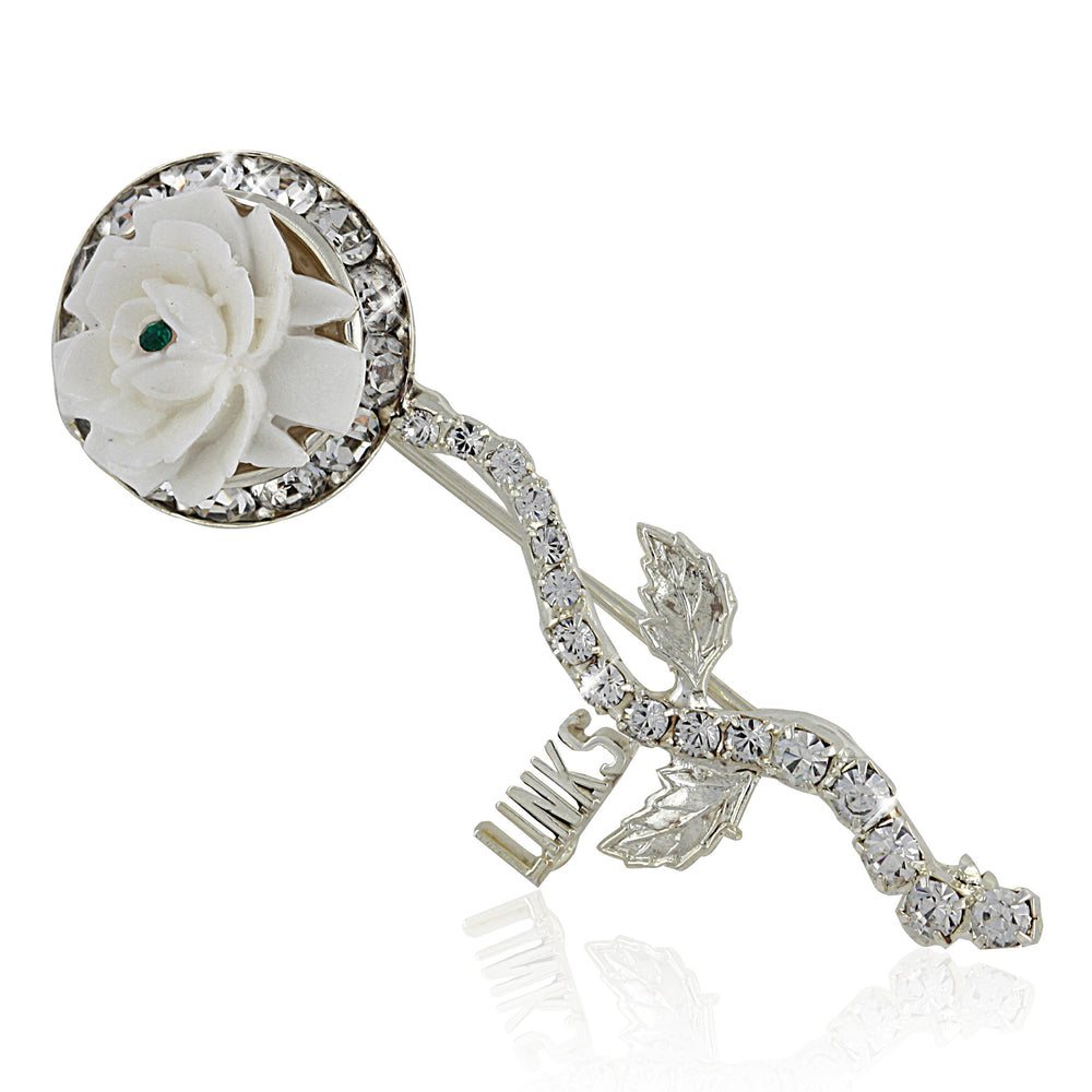 "LINKS Swarovski® ""Flower"" Silver Pin"
