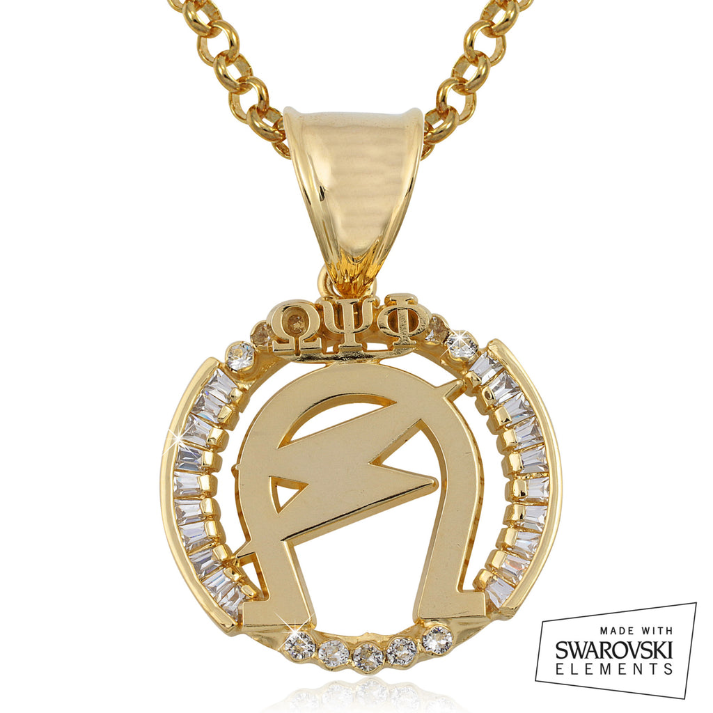 "Omega Psi Phi Swarovski® Crystal Gold ""The Executive"" Medallion"