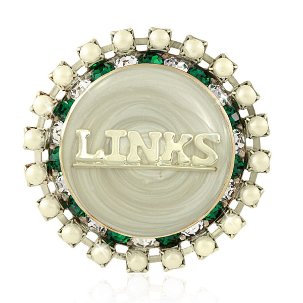 "LINKS Swarovski® ""Pearlescent"" Iridescent White Pin"