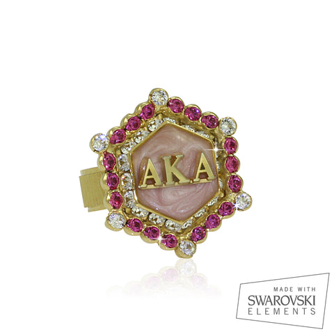 "AKA Swarovski® ""True Pink"" Starbella Gold Ring"