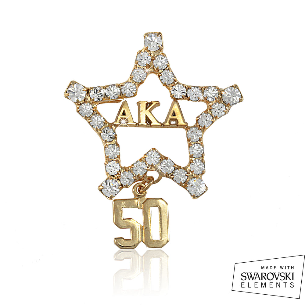 "AKA Swarovski® ""50"" Golden Pin"