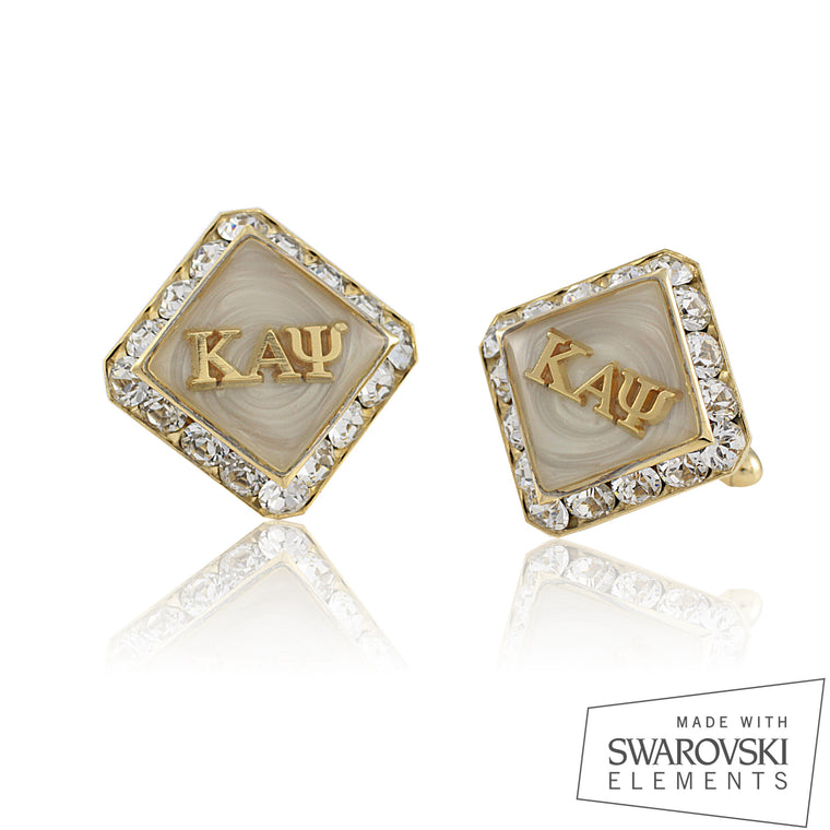 Kappa Swarovski® 'Grand White' Gold Cufflinks