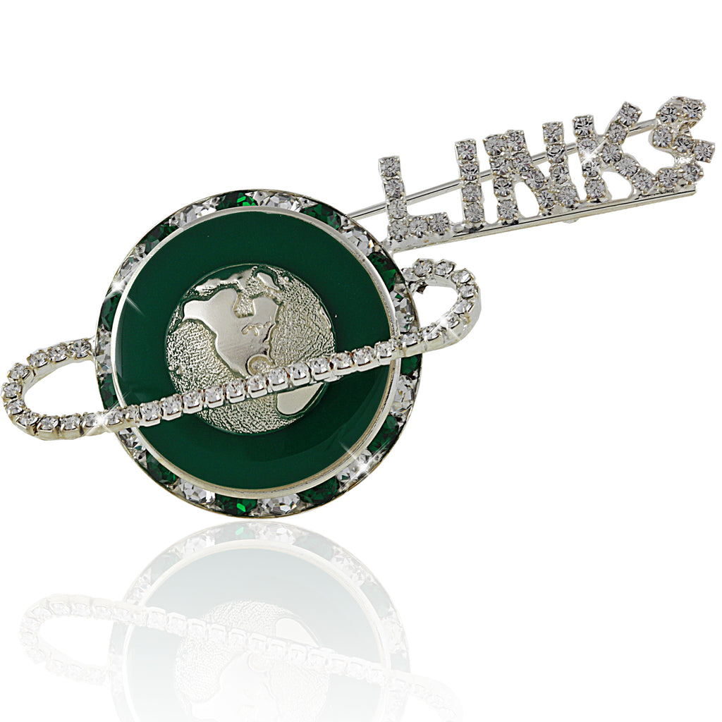 LINKS Crystal Floating Silver and Green Pin