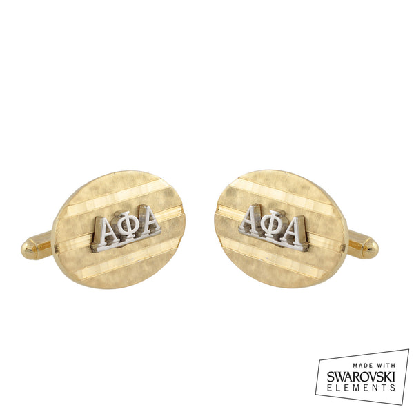 "Alpha Phi Alpha Swarovski® ""Brushed"" Cufflinks"