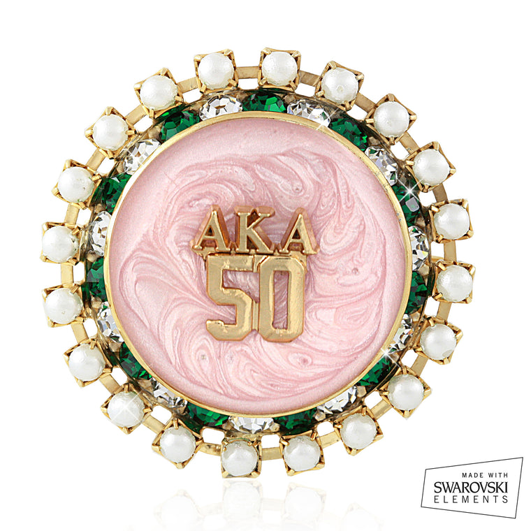 AKA Swarovski® Golden Soror Exclusive Pearl Brooch
