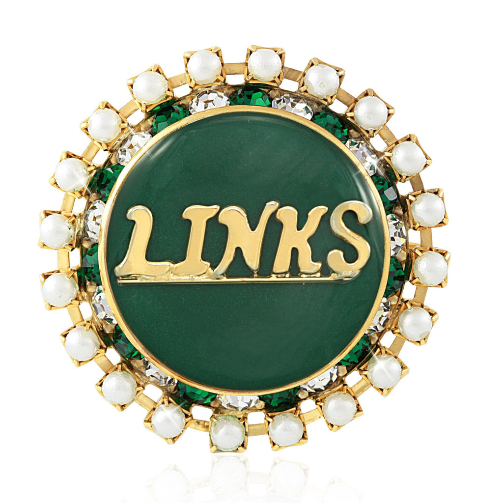 "LINKS Swarovski® ""Pearlescent"" Iridescent Emerald Pin"