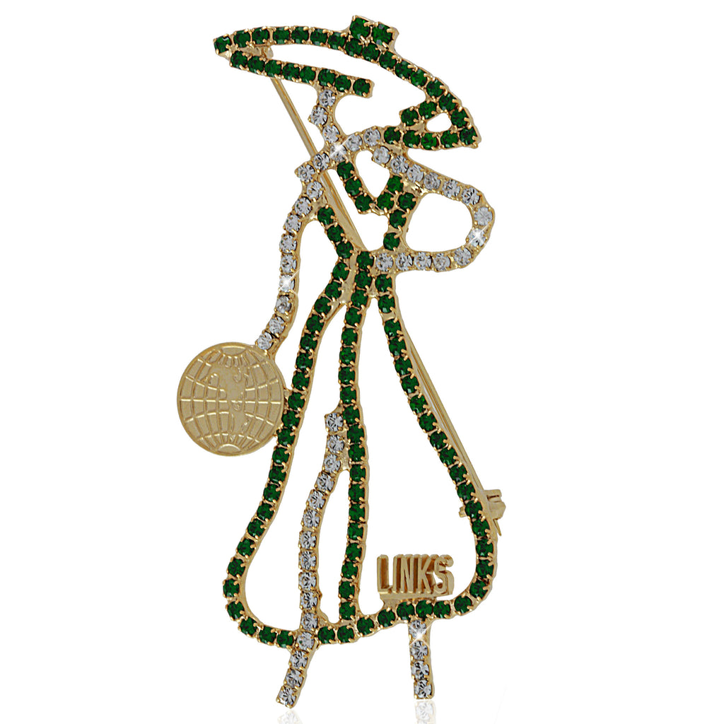 "The ""Distinguished Lady"" Emerald and Gold Pin for LINKS"