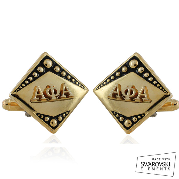 "Alpha Phi Alpha Swarovski® ""Diamond Cut"" Cufflinks"