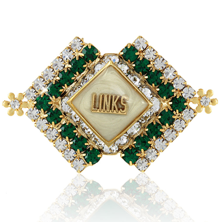 LINKS Brooch Golden White