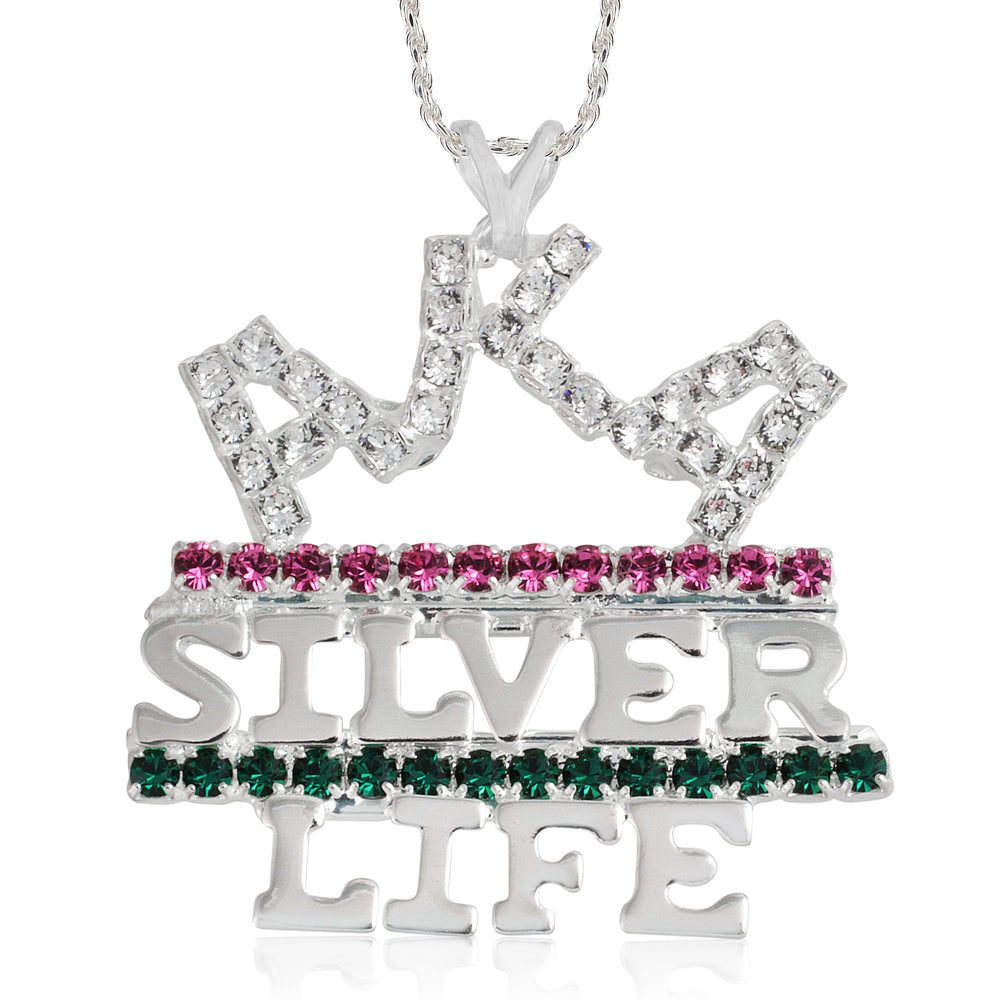 "AKA Swarovski® 'Silver Life and Pink and Green""  Necklace"