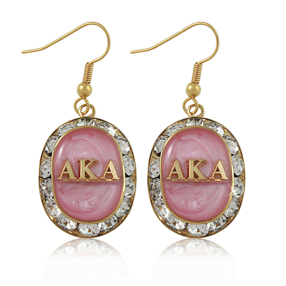 AKA Swarovski® Oval Classic Pink and Gold Earrings