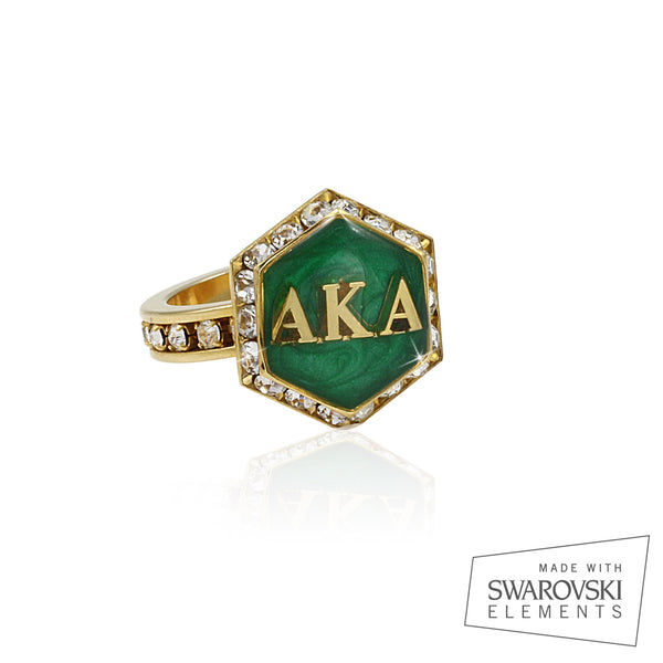 "AKA Swarovski® ""Emerald Luxury"" Starbella Gold Ring"