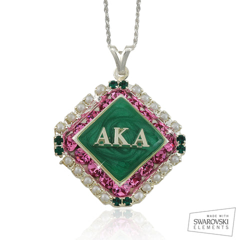 "AKA Swarovski® ""The Pearls and Crystals""  Silver Necklace *Limited Edition*"