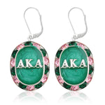 "AKA Swarovski® ""Glittering"" Silver Earrings w/ Emerald *Limited Edition*"