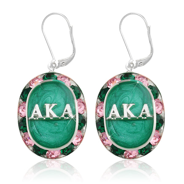 "AKA Swarovski® ""Glittering"" Silver Earrings w/ Emerald interior *Limited Edition*"