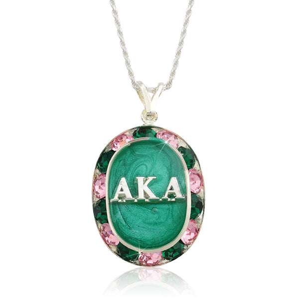 "AKA Swarovski® ""Glittering"" Silver Necklace w/ Green interior *Limited Edition*"