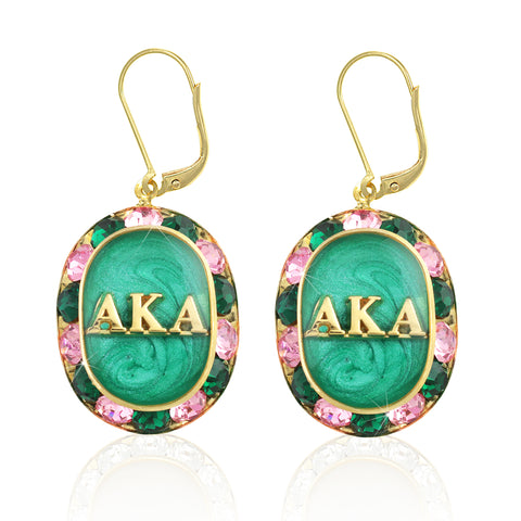 "AKA Swarovski® ""Glittering"" Gold Earrings w/ Emerald interior *Limited Edition*"